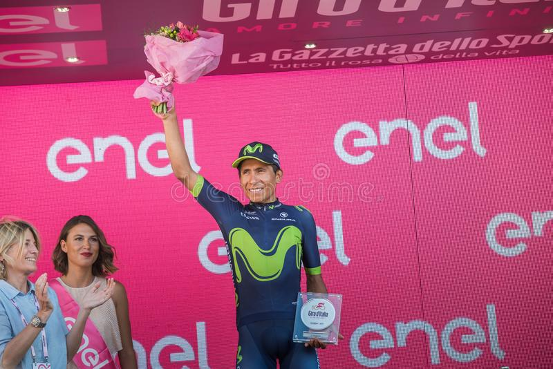 Milano, Italy May 28, 2017: Nairo Quintana, Movistar Team, celebrates his third place on the podium in Milan. Of the Tour of Italy 2017 after 21 days of race royalty free stock photos