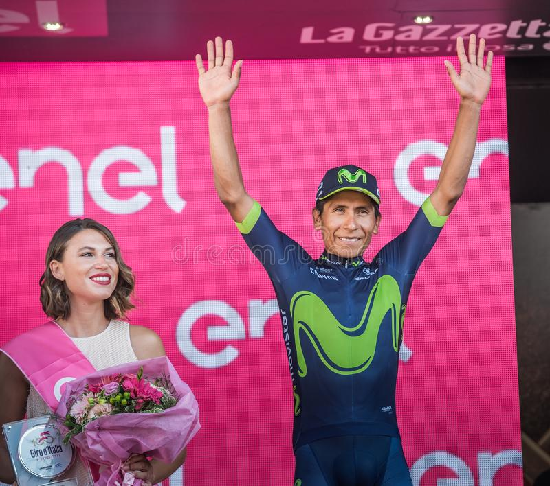 Milano, Italy May 28, 2017: Nairo Quintana, Movistar Team, celebrates his third place on the podium in Milan. Of the Tour of Italy 2017 after 21 days of race royalty free stock photo