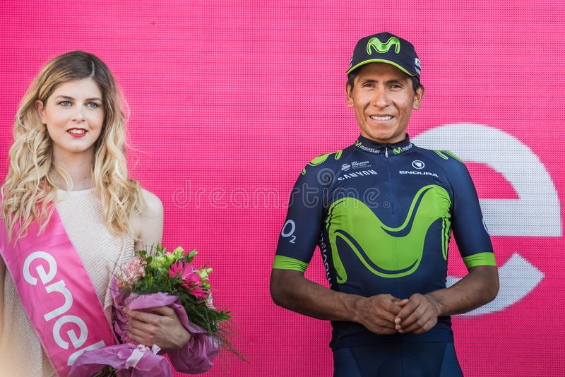 Milano, Italy May 28, 2017: Nairo Quintana, Movistar Team, celebrates his third place on the podium in Milan. Of the Tour of Italy 2017 after 21 days of race stock images