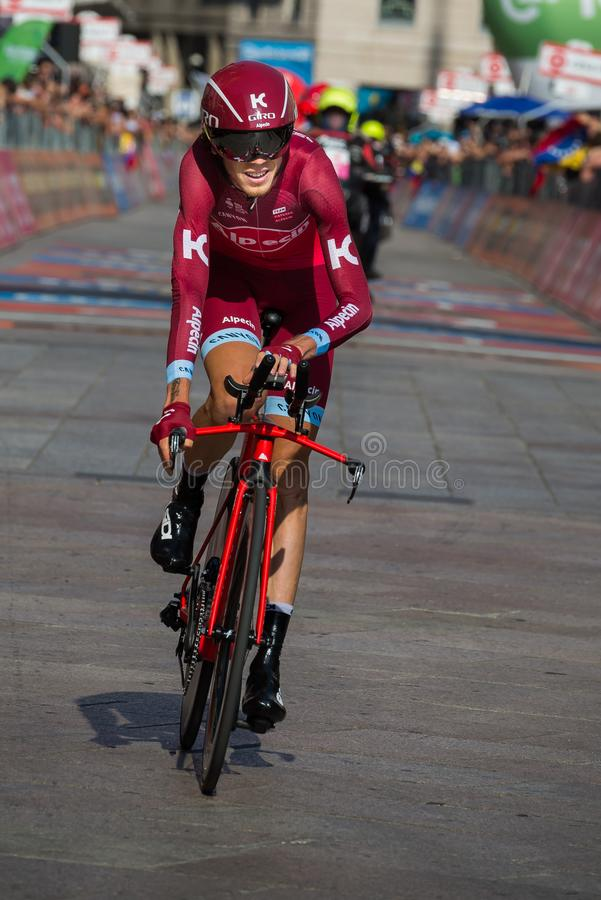 Milano, Italy May 28, 2017: Professional cyclist, Katusha Team, on the finish line. Of the last time trial stage of the Tour of Italy 2017 with arrival in Milan stock photography