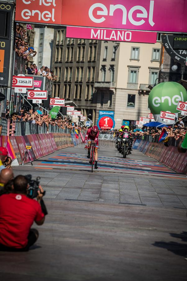 Milano, Italy May 28, 2017: Professional cyclist, Katusha Team, on the finish line. Of the last time trial stage of the Tour of Italy 2017 with arrival in Milan royalty free stock photography