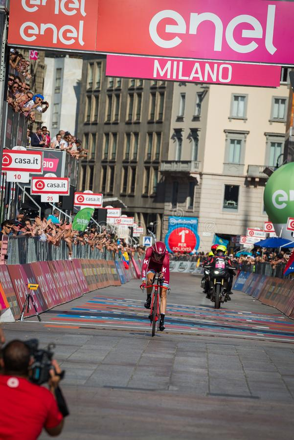 Milano, Italy May 28, 2017: Professional cyclist, Katusha Team, on the finish line. Of the last time trial stage of the Tour of Italy 2017 with arrival in Milan royalty free stock photos