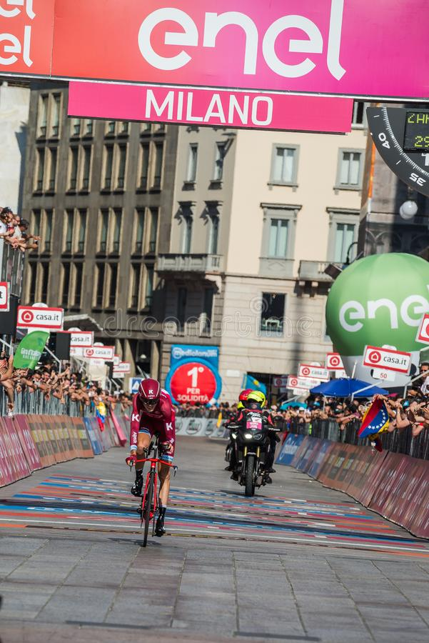 Milano, Italy May 28, 2017: Professional cyclist, Katusha Team, on the finish line. Of the last time trial stage of the Tour of Italy 2017 with arrival in Milan stock photo