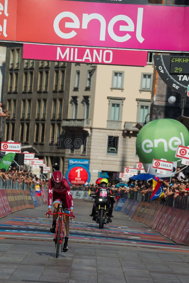 Milano, Italy May 28, 2017: Professional cyclist, Katusha Team, on the finish line. Of the last time trial stage of the Tour of Italy 2017 with arrival in Milan stock photos