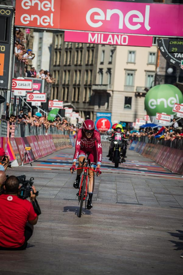Milano, Italy May 28, 2017: Professional cyclist, Katusha Team, on the finish line. Of the last time trial stage of the Tour of Italy 2017 with arrival in Milan stock image
