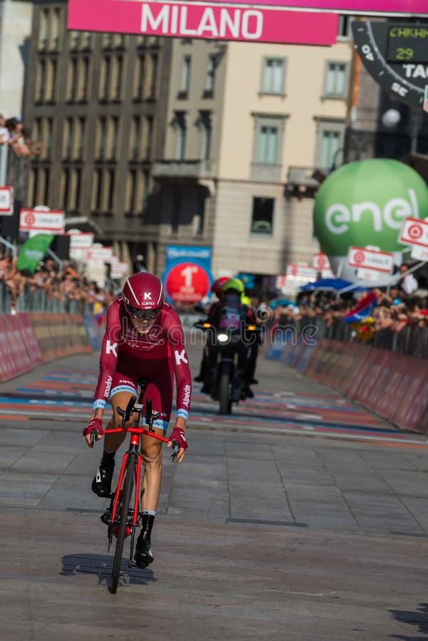 Milano, Italy May 28, 2017: Professional cyclist, Katusha Team, on the finish line. Of the last time trial stage of the Tour of Italy 2017 with arrival in Milan royalty free stock image