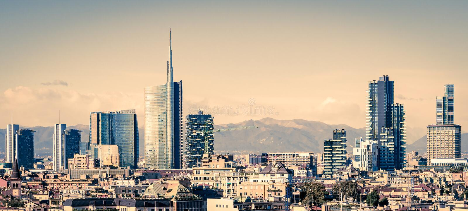 Milano Italy, skyline. With new skyscrapers stock image