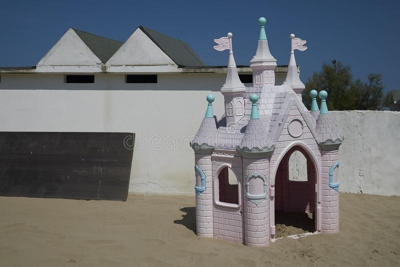 Outdoor Castle Play House. Milano Marittima, Italy -August 03, 2018 : Outdoor Palace Princess Castle Play House stock photography