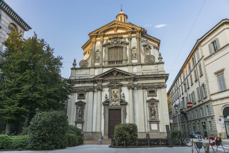 Milano ,San Giuseppe Church. Milano city centre street with San Giuseppe Church , Chiesa di San Guseppe , . Italy , Europe stock images