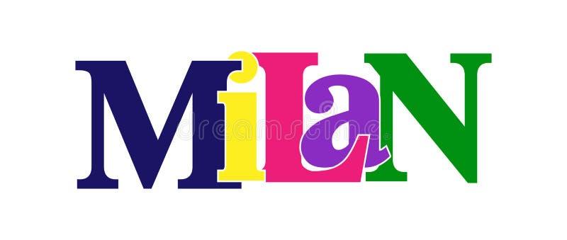 MILANO. Striscione con il nome della città d'Italia illustrazione vettoriale