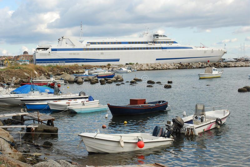 Milazzo harbor Sicily with ferry to Lipari Islands Italy stock photos