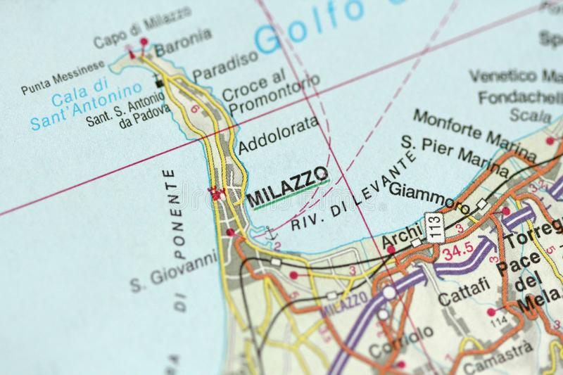 Milazzo Map The Islands Of Sicily Italy Stock Image Image of