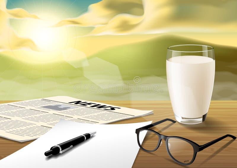 Milch-Blatt-Stift-Glas-Nachrichten tapezieren auf Holztisch auf dem Morgen vektor abbildung