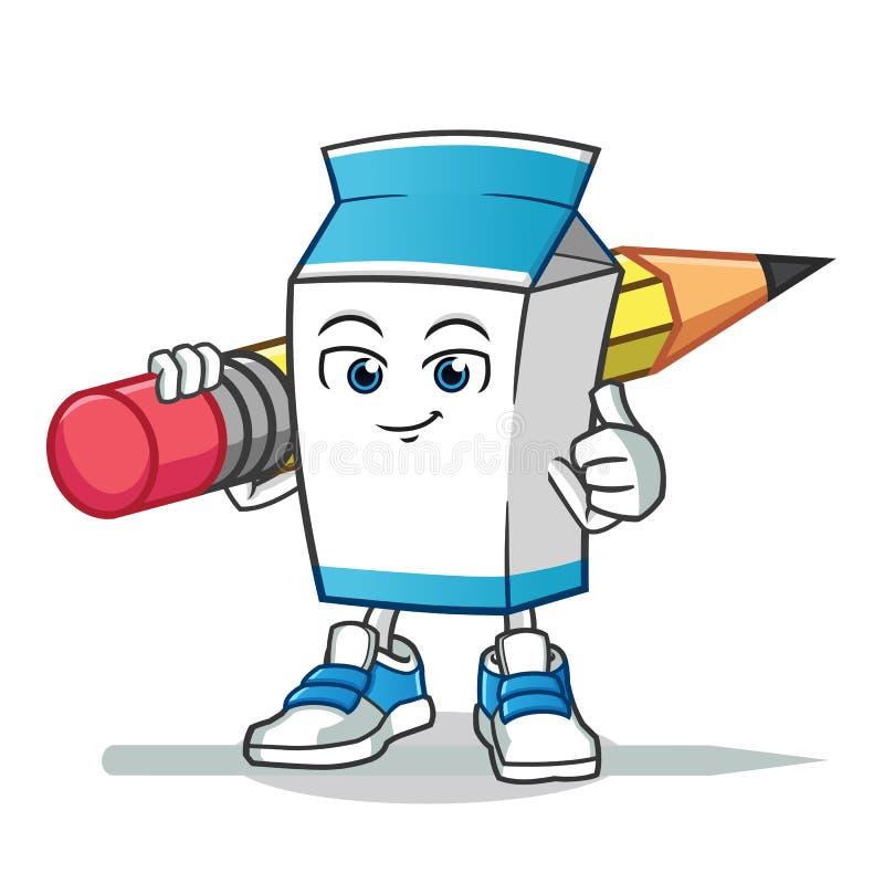 Milch, die gro?e Bleistiftmaskottchenvektor-Karikaturillustration h?lt vektor abbildung
