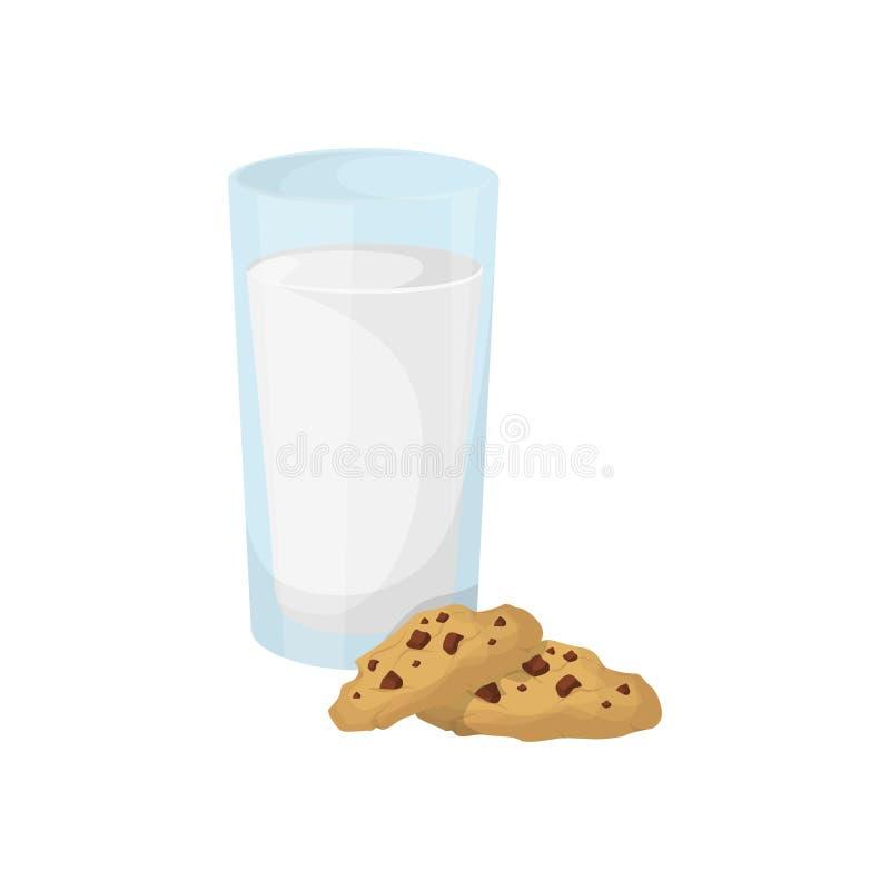 Milch mit Plätzchen stock abbildung