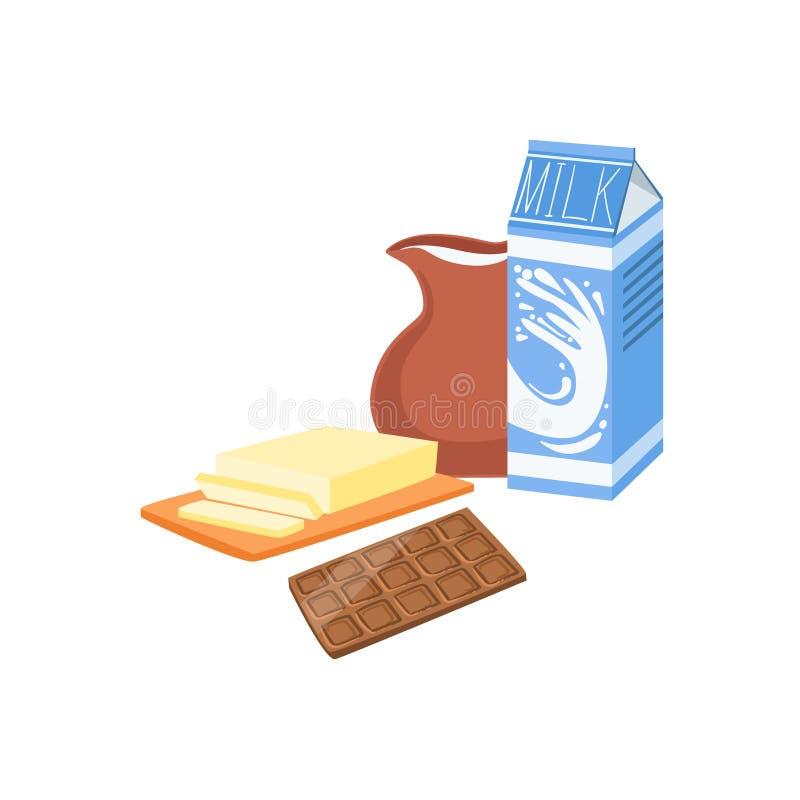 Milch-, Schokoladen-und Butterbackverfahren-Küchen-Ausrüstung lokalisiertes Einzelteil vektor abbildung