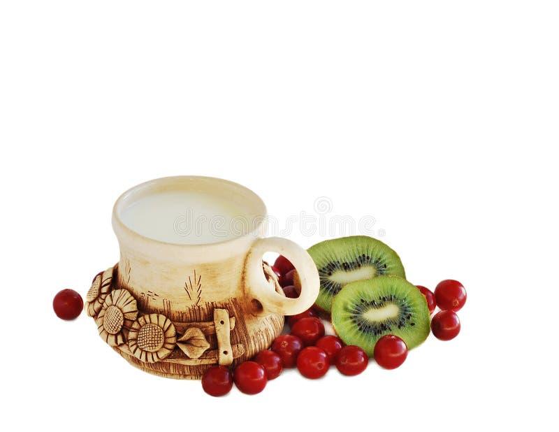 Milch und Frucht stockbild