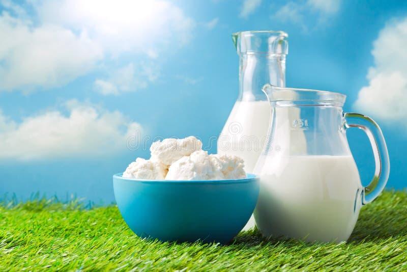 Milch und Hüttenkäse über Hintergrund der Wiese und des blauen Himmels lizenzfreie stockfotografie