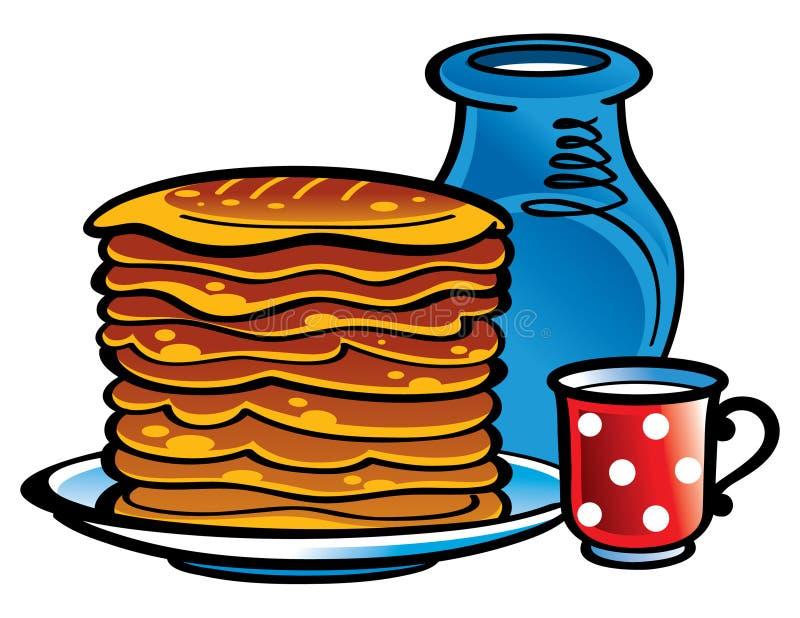 Milch und Pfannkuchen stock abbildung