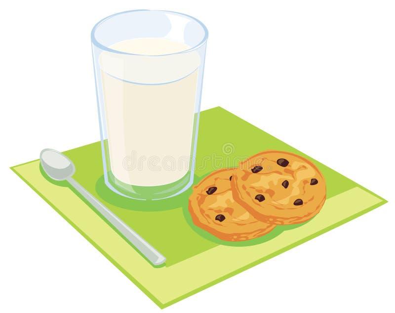 Milch und Plätzchen lizenzfreie abbildung