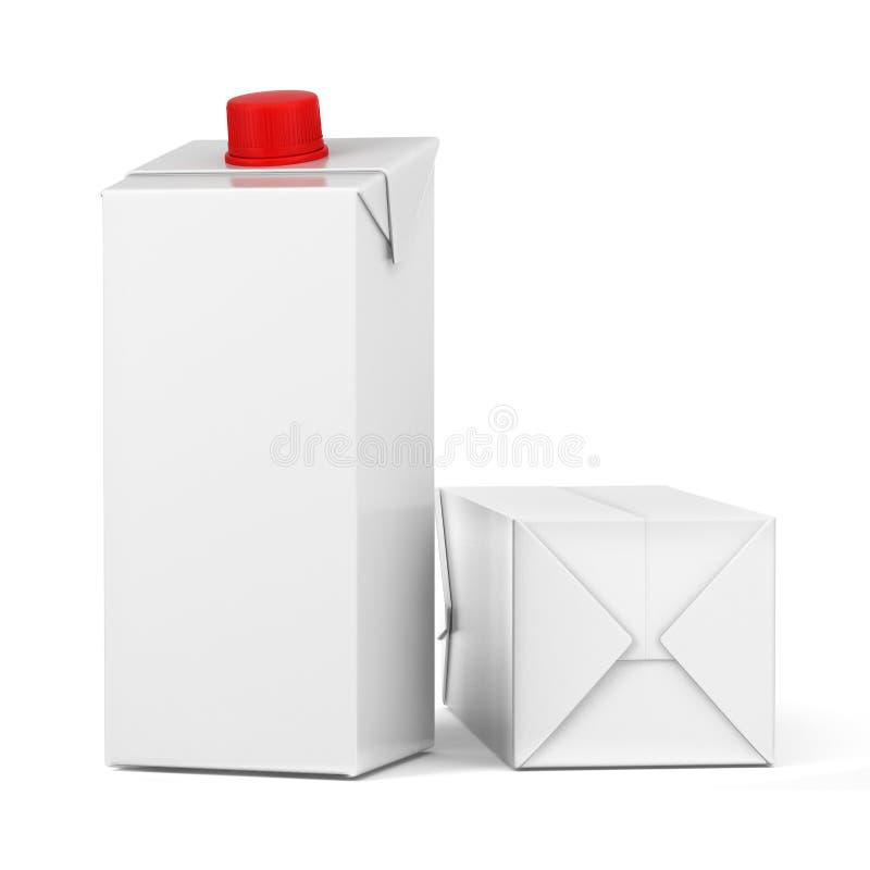 Milch- und Saftkästen Kleinpaket-Modellsatz Halbe Literkästen auf Weiß Wiedergabe 3d lizenzfreie abbildung