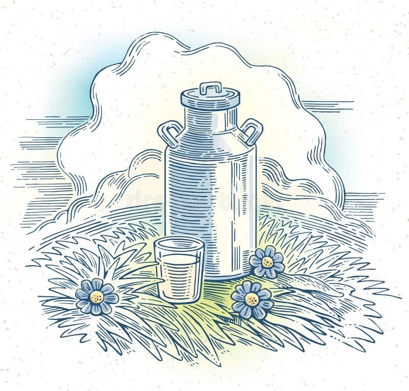 Milchdosen und Glas Milch lizenzfreie abbildung