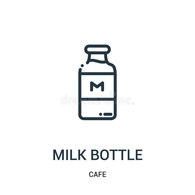 Milchflasche-Ikonenvektor von der Cafésammlung D?nne Linie Milchflasche-Entwurfsikonen-Vektorillustration Lineares Symbol stock abbildung