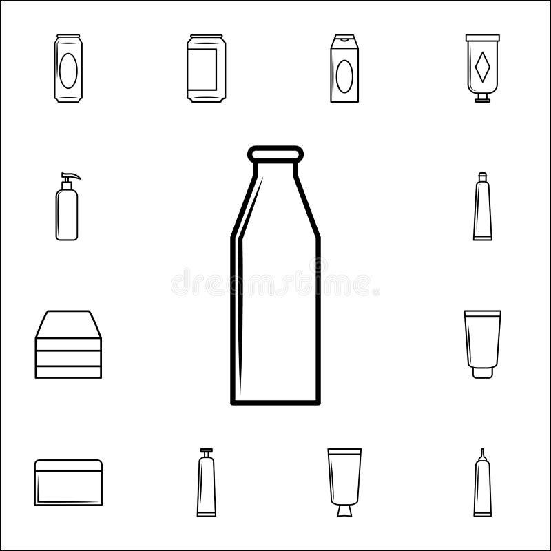 Milchflascheikone Füllen Sie Ikonenuniversalsatz für Netz und Mobile ab lizenzfreie abbildung