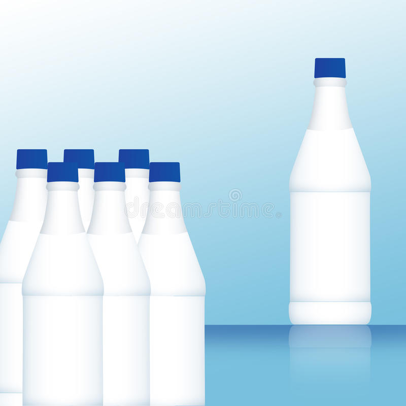 Milchflaschen stock abbildung