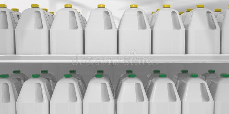 Milchgallone legen an beiseite stockfotos