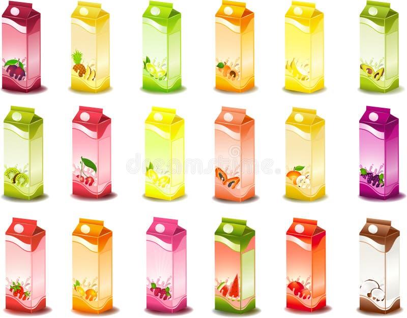 Milchige Produkte mit Frucht lizenzfreie abbildung