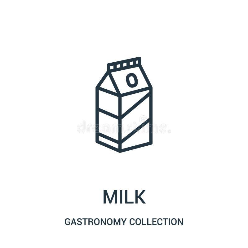Milchikonenvektor von der Gastronomiesammlungssammlung Dünne Linie Milchentwurfsikonen-Vektorillustration lizenzfreie abbildung