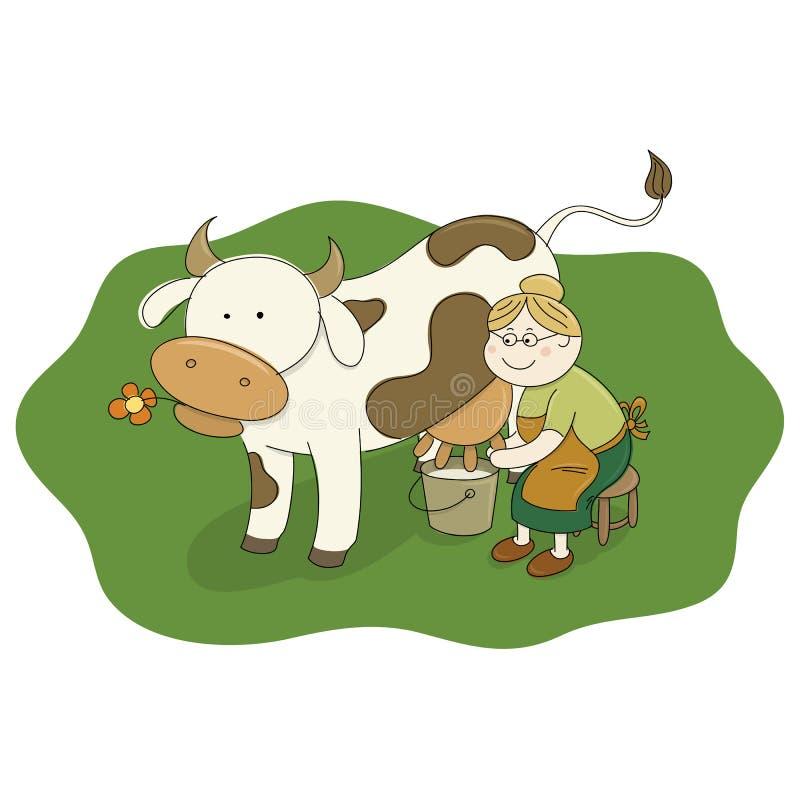 Milchmagd, die eine Kuh milk vektor abbildung