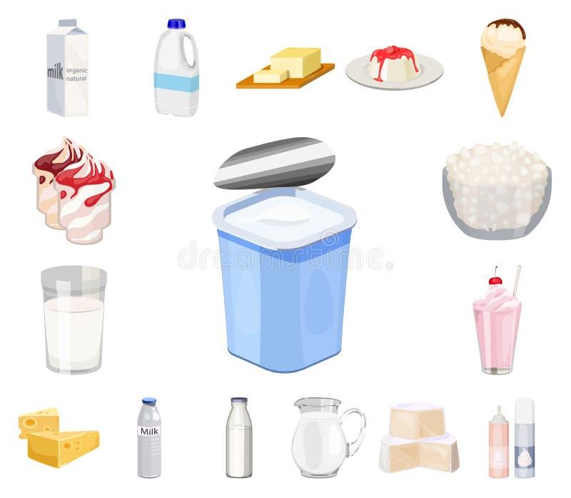 Milchprodukt-Karikaturikonen in der Satzsammlung für Design Milch und Lebensmittel vector Netzillustration des Symbols auf Lager vektor abbildung