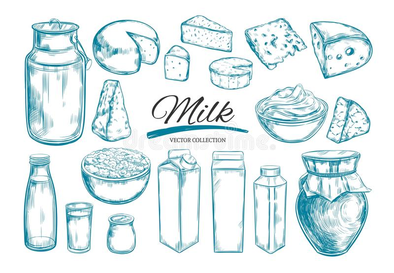 Milchproduktsammlung Kuh, Milchprodukte, Käse, Butter, Sauerrahm, Klumpen, Jogurt Bauernhof-Nahrungsmittel Bauernhoflandschaft mi vektor abbildung