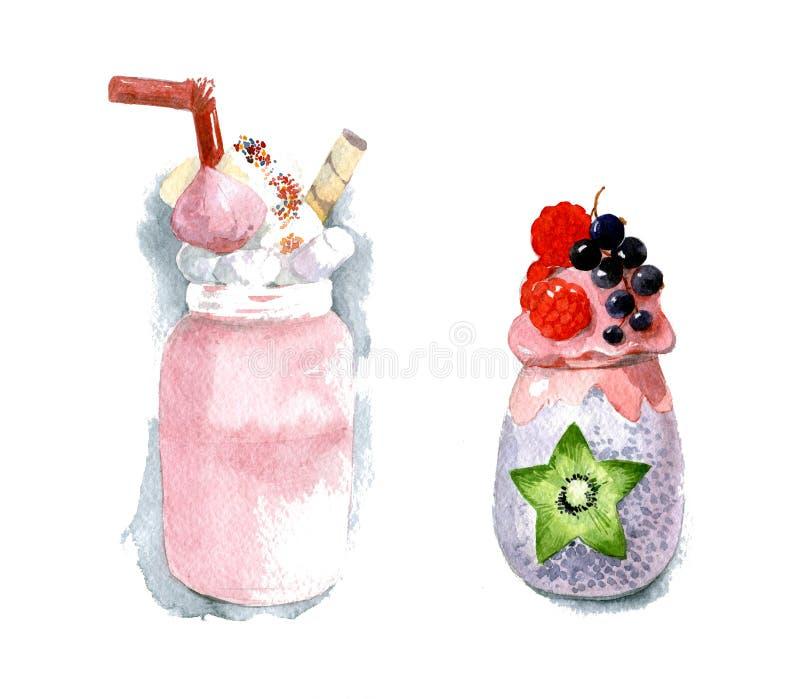 Milchshake in einem durchsichtigen Glas mit Sahne, Beeren und Chia-Pudding in einem klaren Glas lizenzfreies stockfoto