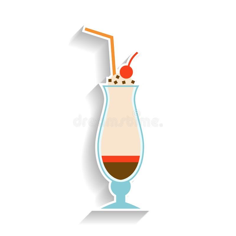 Milchshake mit Schokolade, Schlagsahne und einer Kirsche Flache Farbikone, Gegenstand des Schnellimbisses und Snack vektor abbildung