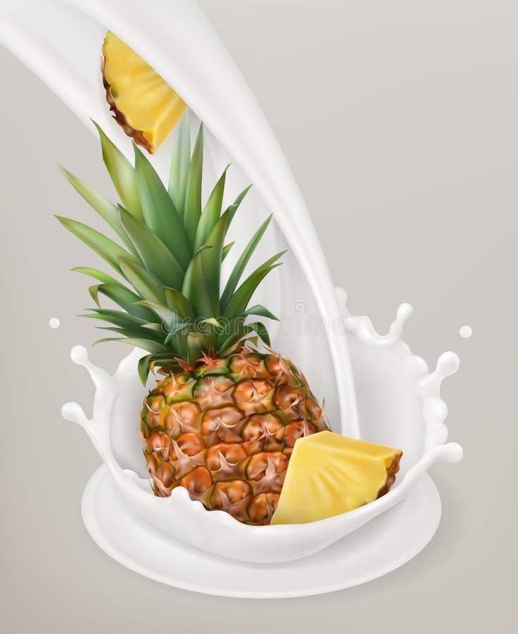 Milchspritzen und -ananas Gegenstand des Vektors 3d vektor abbildung