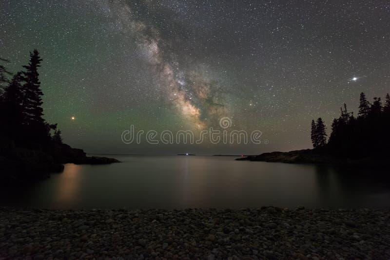 Milchstraße-Galaxie, beschädigt und Jupiter über kleinen Jägern setzen auf den Strand stockbilder