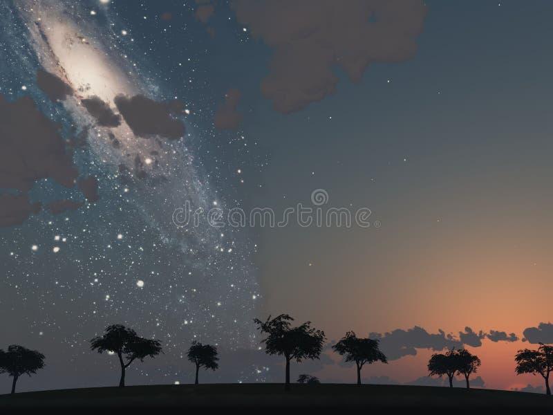 Milchstraße am Sonnenuntergang lizenzfreie stockfotos