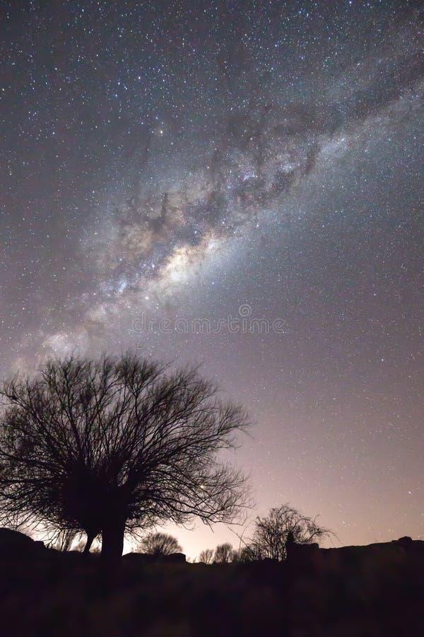 Milchstraße und heller Sternnächtlicher himmel über Patagonia stockbilder