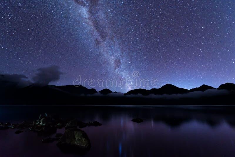 Milchstraßelandschaft Offenbar Milchstraße über See Segara Anak innerhalb des Kraters von Rinjani-Berg auf nächtlichem Himmel Lom stockfotografie