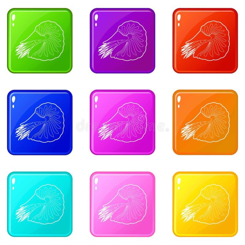 Milczek ikony ustawiaj? 9 kolor?w kolekcj? ilustracji