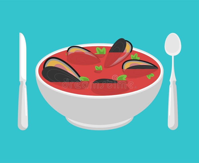 Milczek polewka odizolowywająca Owoce morza japończyk skorupa pucharu wektoru ilustracja ilustracji