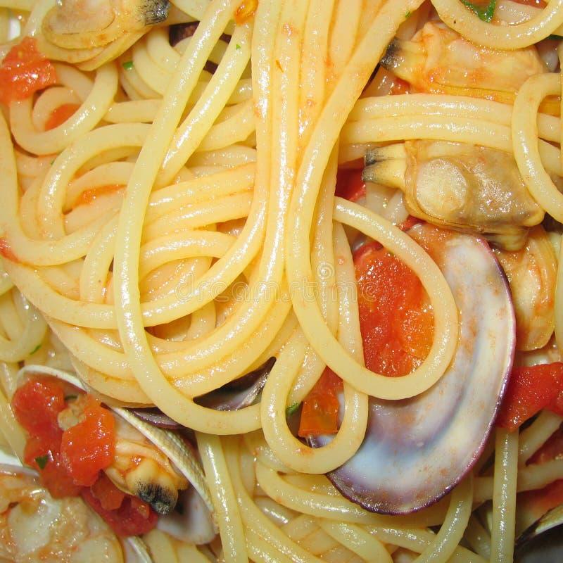milczków zbliżenia spaghetti fotografia stock