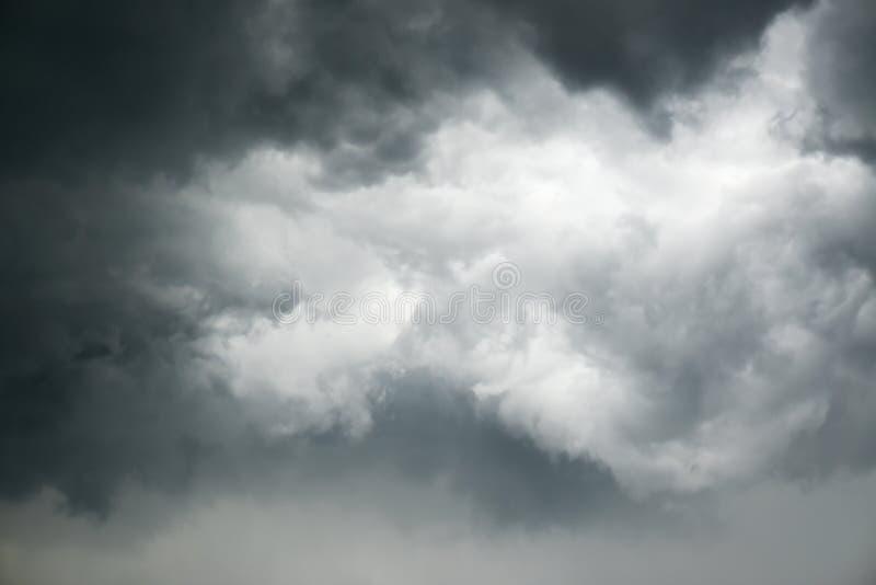 Mild dark cloudy sky. Thunderstorm time grey color stock photo