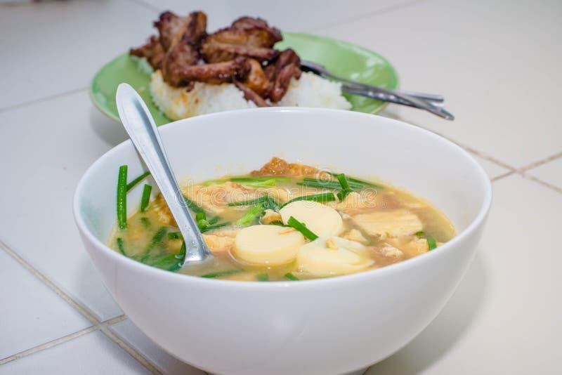 Mild soppa med grönsaker, tofuen och griskött fotografering för bildbyråer