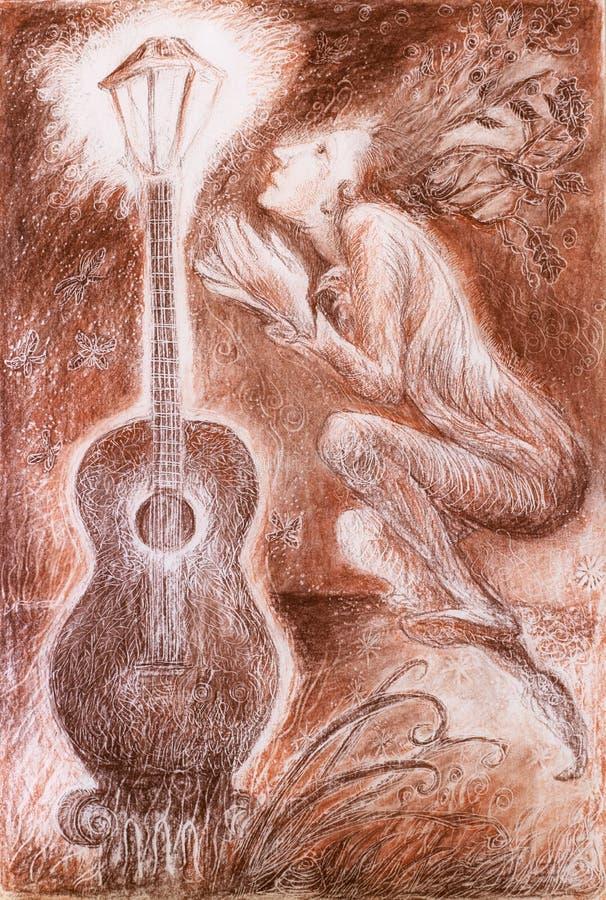 Mildern Sie den träumerischen feenhaften Dichter, der ein Gitarrenlicht, Fantasie crawing ist stock abbildung