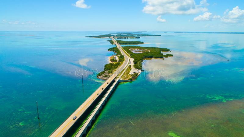 7 mile bridge. Aerial view. Florida Keys, Marathon, USA. The Seven Mile Bridge is a bridge in the Florida Keys, in Monroe County, Florida, United States royalty free stock images