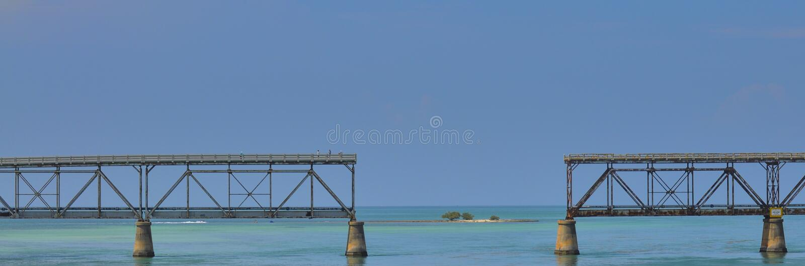 7 Mile Bridge, Florida Keys. This is the old 7 mile bridge in the Florida Keys. This bridge was destroyed during the making of the movie Ture Lies stock photos